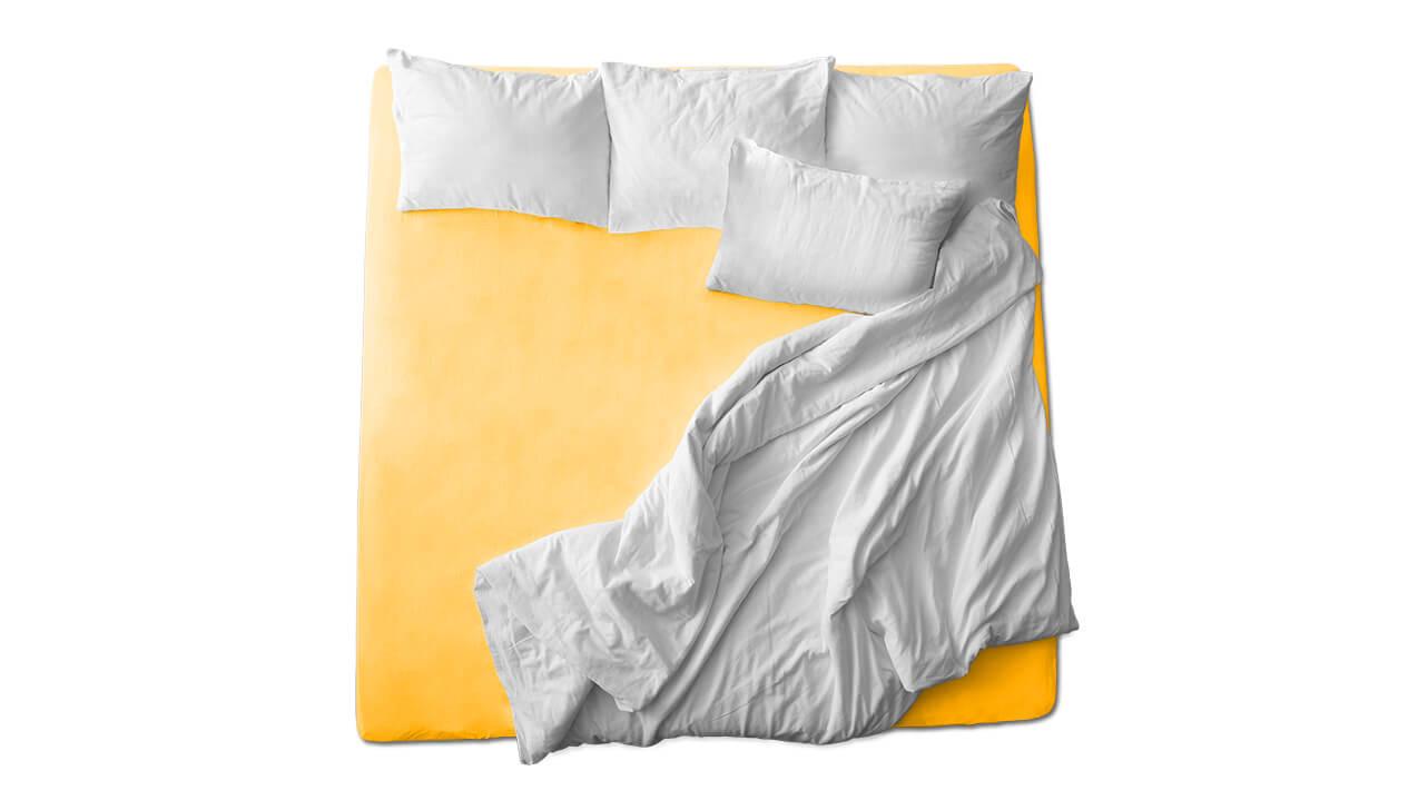 Schaflux Jersey Spannbettlaken allFit für Matratze in Goldgelb
