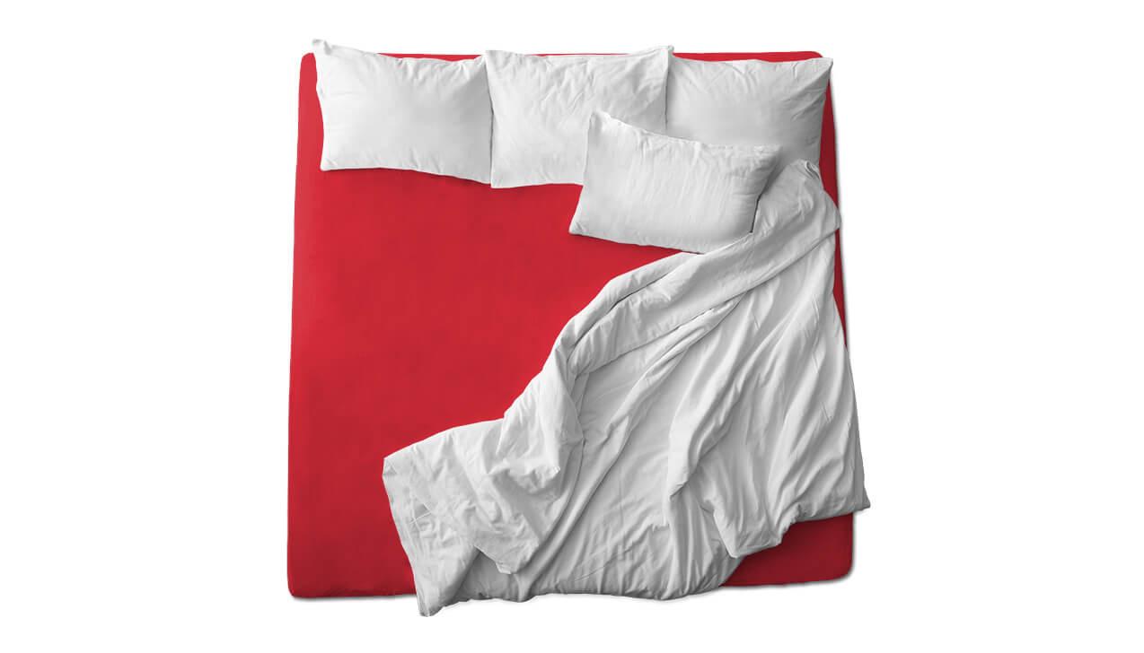 Schaflux Jersey Spannbettlaken allFit für Topper in Rot