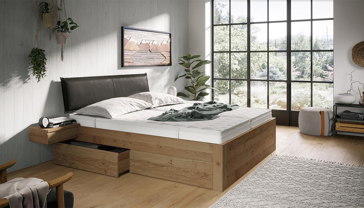 Schlaflux Massivholzbett mit Schubladen